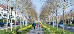 Photographie de l'avenue du Général de Gaulle dans le centre ville de Bussy Saint-Georges. Une famille se balade sur l'allée piétonne
