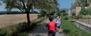 Des enfants jouent dans l'une des allées du coeur agro-urbain de l'écoquartier de Montévrain