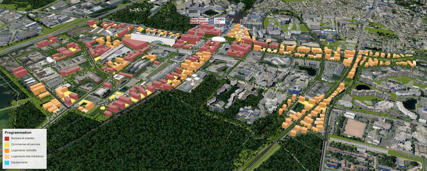 Vue aérienne de ZAC de la Haute Maison - ZAC Les Hauts de Nesles : extrait d'une maquette numérique 3D (2016)