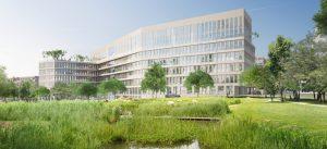 Modélisation de futur immeuble de bureaux Casden, à la Cité Descartes