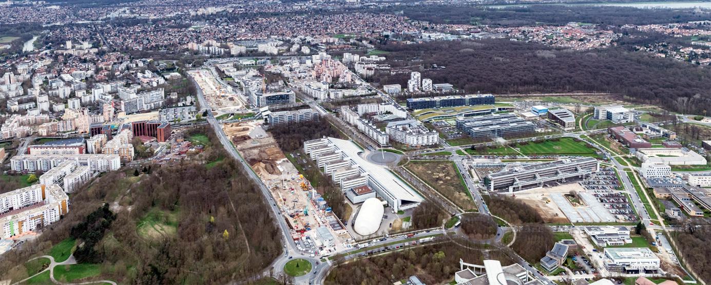 Vue aérienne de La Cité Descartes : chantier de la gare du Grand Paris Express