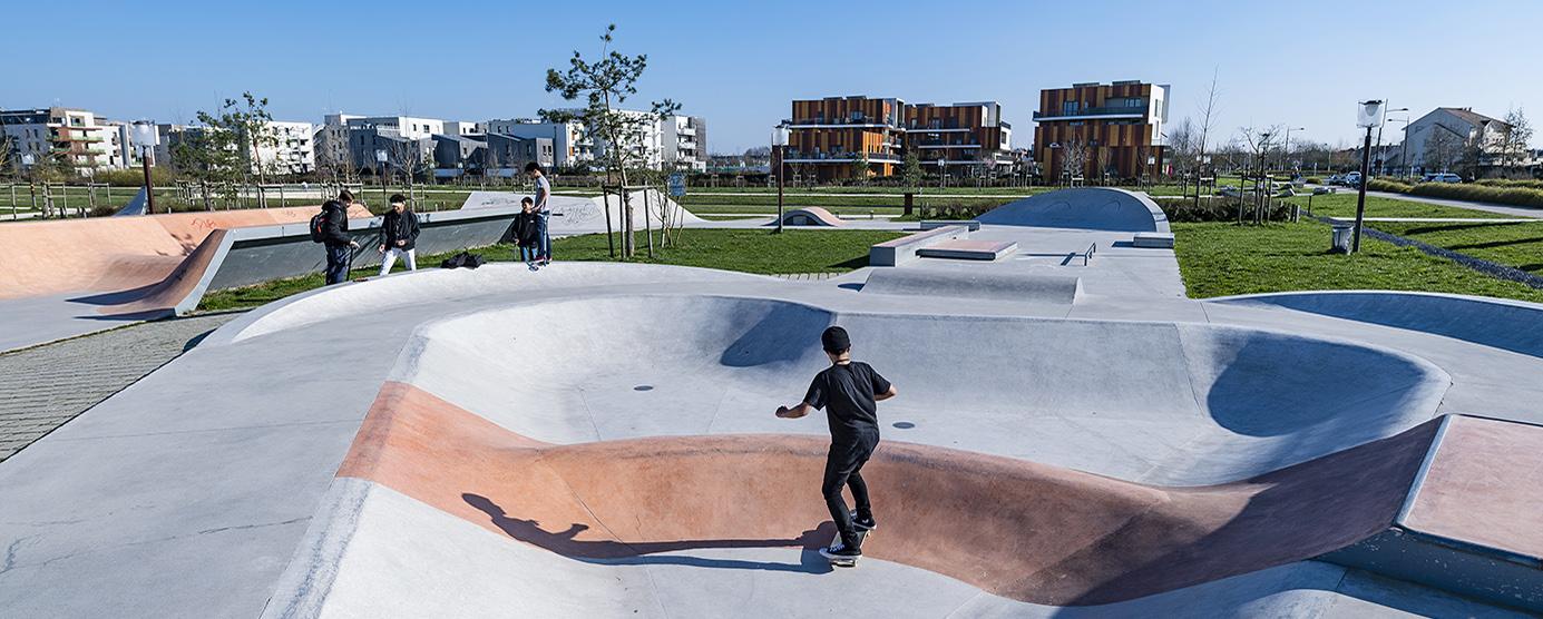 Skate park du parc du Génitoy dans l'écoquartier Le Sycomore