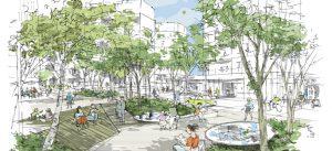 Croquis du projet urbain Marne Europe : la Place-Jardin - abords de la gare de Bry-Villiers - Champigny