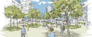 Croquis du projet Projet urbain Marne Europe : La Place, jardin / Abords de la Gare Bry -Villiers - Champigny