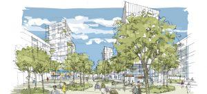 Croquis du projet urbain prévu aux abords de la future Gare de Bry - Villiers - Champigny