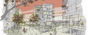 Croquis du projet urbain imaginée aux abords de la gare de Bry - Villiers - Champigny