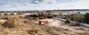 Photographie prise lors de la réalisation d'un bassin de rétention maçonne sur la ZAC Marne-Europe / ZAC Les Boutareines