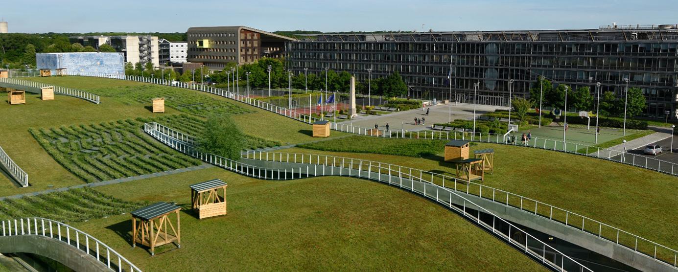 Vué aérienne de la Cité Descartes : Vue donnée depuis la toiture de l'immeuble Le Bienvenüe, pôle scientifique et technique Paris-Est à Marne-la-Vallée