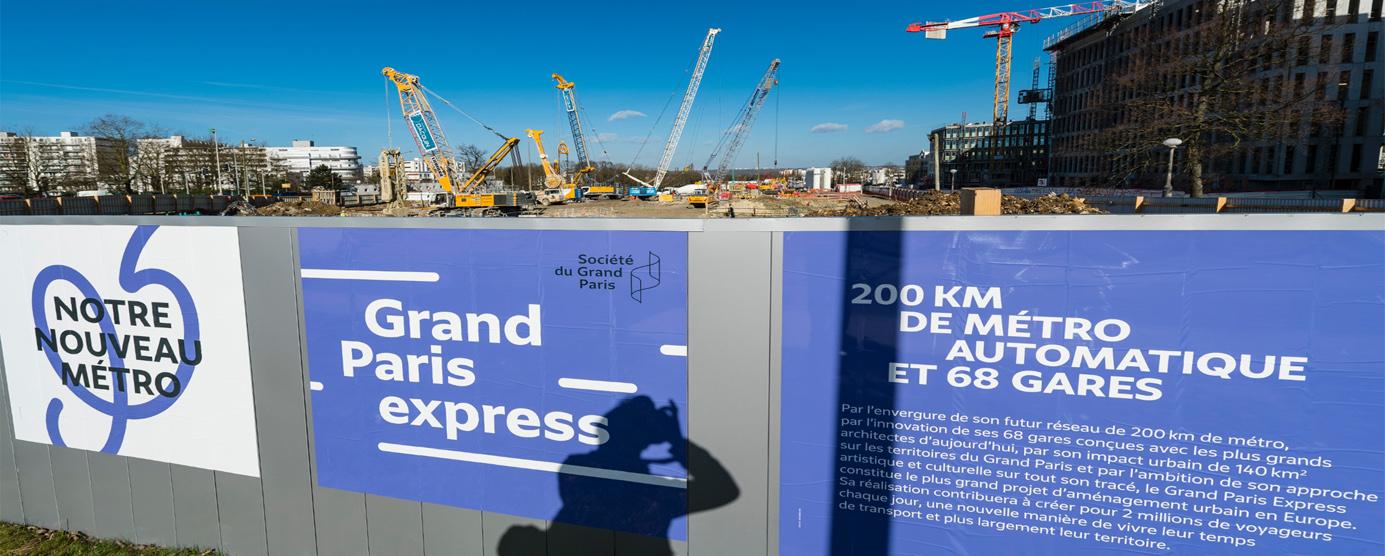 Palissade de chantier annonçant les travaux du Grand Paris express - Champs-sur-Marne