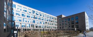 Photographie prise aux abords de l'immeuble de bureaux Citalium, dans l'écoquartier de Montévrain