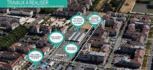 Chantier des travaux du pôle gare de Bussy Saint-Georges, à partir de 2017