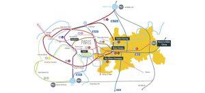 Accessibilité : carte des transports à Marne-la-Vallée