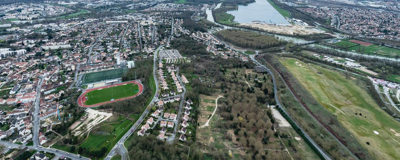 Vue aérienne de la ZAC des Coteaux de la Marne à Torcy