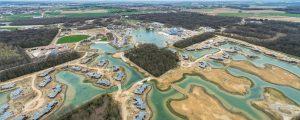 Vue aérienne du chantier de travaux publics sur la ZAC Villages Nature (Bailly-Romainvilliers / Villeneuve-le-Comte)