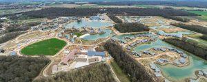 Vue aérienne du chantier de travaux publics sur la ZAC Villages Nature à Bailly-Romainvilliers
