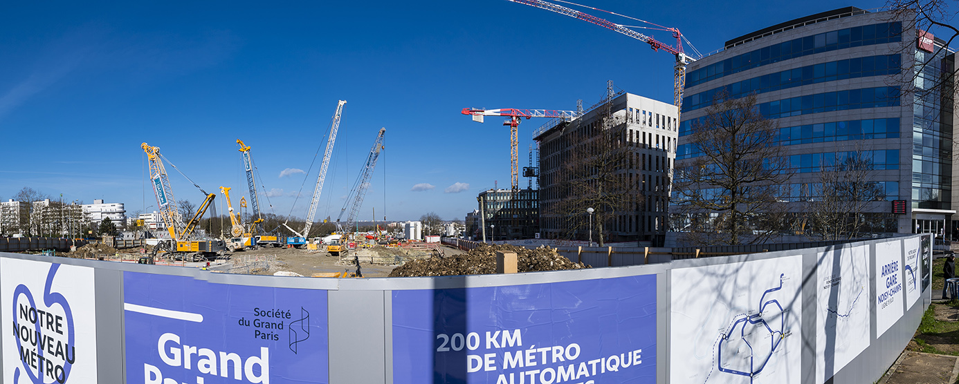 Cité Descartes : Chantier de la Gare du Grand Paris Express, à Noisy-Champs