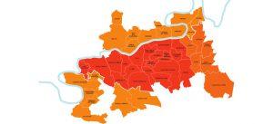 Carte du périmètre d'intervention EPAMARNE/EPAFRANCE, à Marne-la-Vallée
