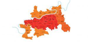 Carte du périmètre d'intervention EPAMARNE/EPAFRANCE à Marne-la-Vallée (2017)