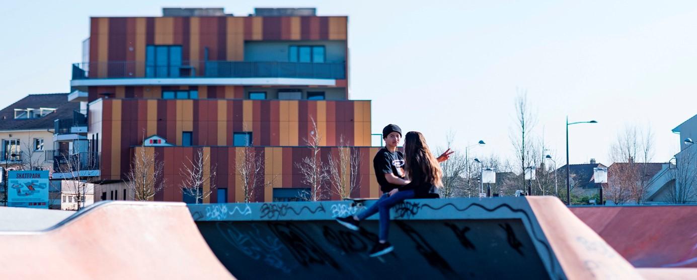 Ecoquartier Le Sycomore : le skatepark dans le parc du Génitoy à Bussy Saint-Georges