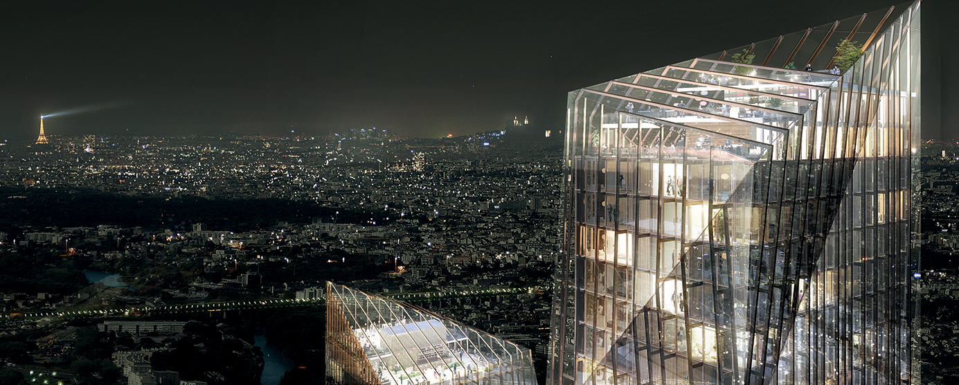 Vue de nuit - Balcon sur Paris à Marne Europe