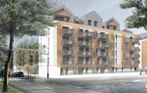 Modélisation du Coeur Vert, logements et commerces, dans l'écoquartier de Montévrain