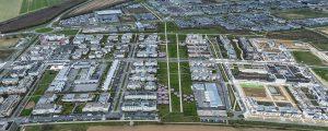 Photographie aérienne de l'écoquartier de Montévrain