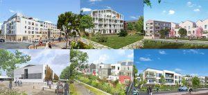 Lots de logements et d'équipements publics en construction dans l'écoquartier de Montévrain.