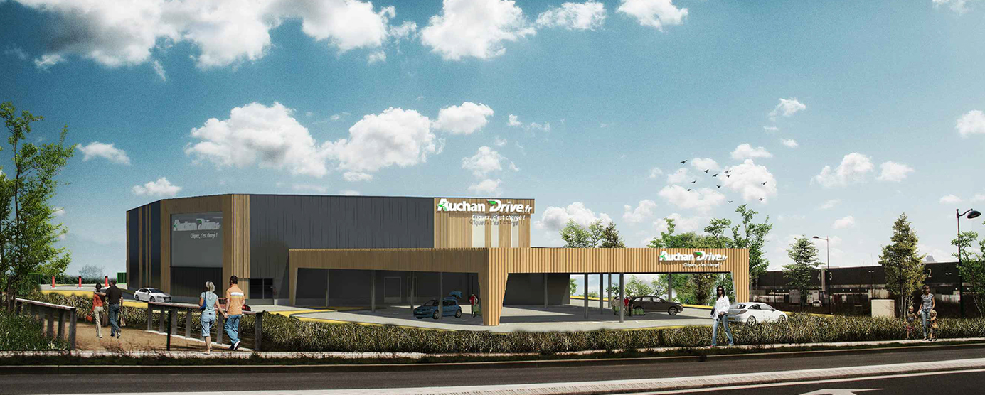 Modélisation du futur drive alimentaire Auchan, situé dans la ZAC du Couternois, à Serris