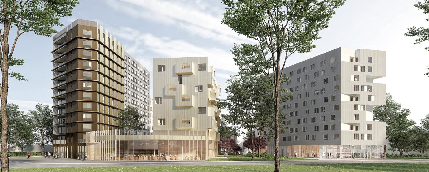 Programme Treed-it : immeuble à ossature bois R+10, à la Cité Descartes