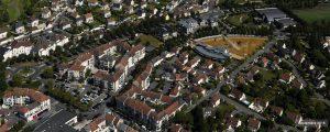 Vue aérienne des habitations présentent sur la ZAC de Bailly-Romainvilliers