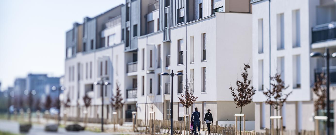 Photographie de logements présents dans l'écoquartier de Montévrain