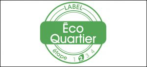 Présentation du logo annonçant le label Écoquartier - étape 2 attribué à l'écoquartier de Montévrain