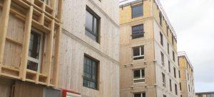 Photographie de chantier de la résidence du Crédit Agricole BBCA, à Noisiel