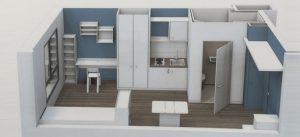 Plan 3D d'un studio de la résidence Crédit Agricole BBCA, à Noisiel