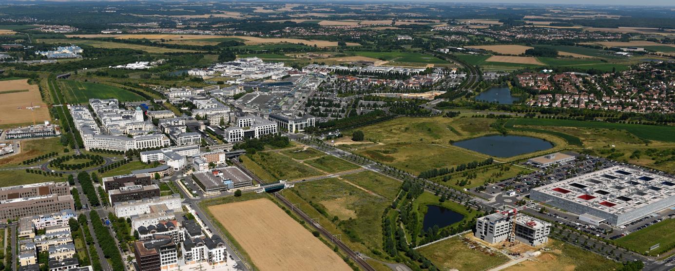 Photographie aérienne de la ZAC de Montévrain Université et de la ZAC du Pré au Chêne - ZAC des Gassets (Juillet 2016)