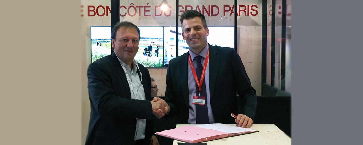 Poignée de main entre Jean-Baptiste REY et Éric QUERRY, lors du SIMI 2018