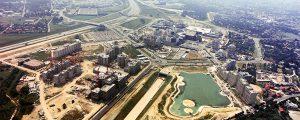 Vue aérienne du chantier Mont d'Est - Pavé neuf - à Noisy-le-Grand en 1975