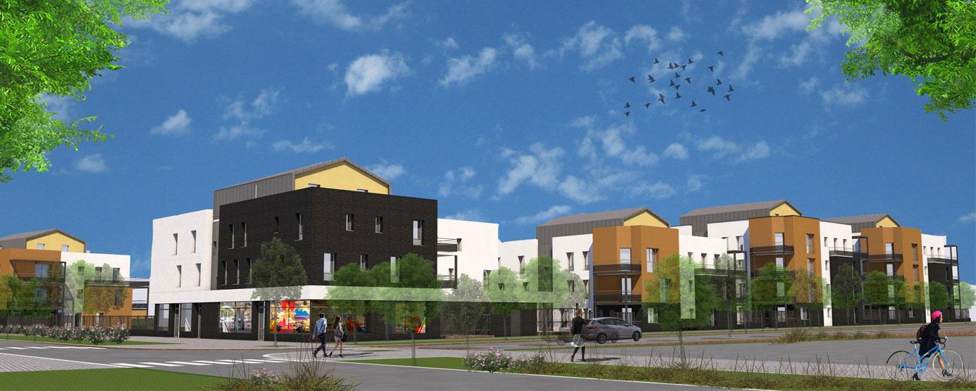 Plan 3D du futur programme de logements Emmaüs (lot SY7) dans l'écoquartier Le Sycomore