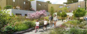 Modélisation d'un complexe de logements prévus dans l'écoquartier Le Sycomore, à Bussy Saint-Georges. Des passants se promènent dans les allées du quartier