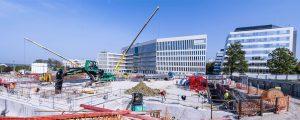 Chantier de la construction du futur siège de la CASDEN, à Champs-sur-Marne