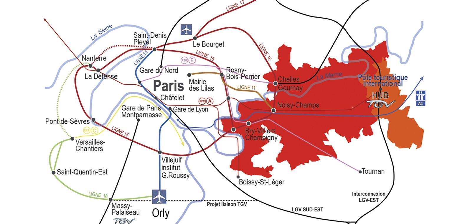 Carte : Représentation du tracé de l'autoroute VDO à Marne-la-Vallée