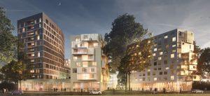 Croquis du Treet It, futur immeuble R+11 à la Cité Descartes
