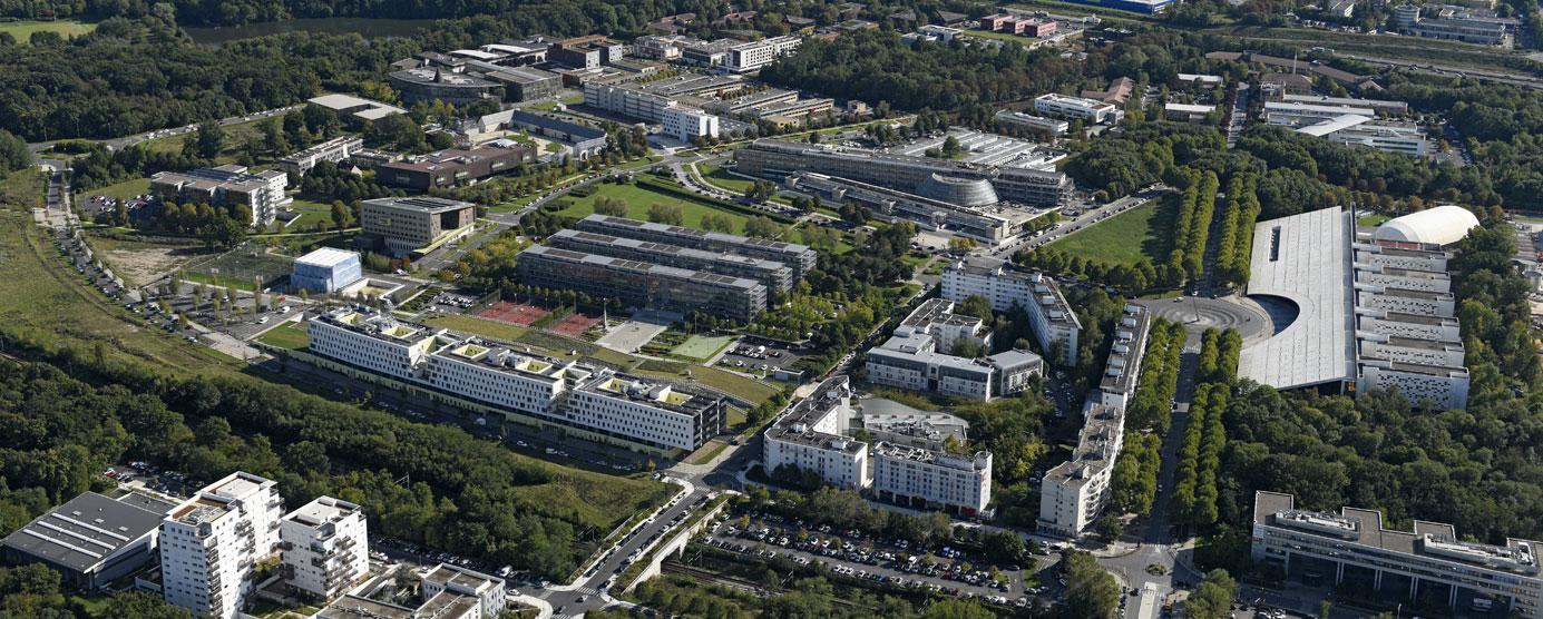 Vue aérienne de la Cité Descartes, à Champs-sur-Marne et à Noisy-le-Grand