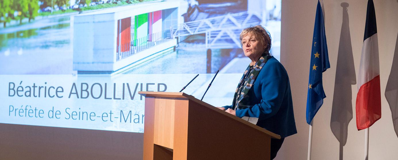 Discours de Béatrice Abollivier, préfète de Seine-et-Marne, lors de la cérémonie des voeux 2018 EPAMARNE/EPAFRANCE, à Noisiel