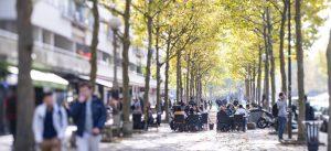 Terrasse d'un restaurant, avenue Ampère, à la Cité Descartes