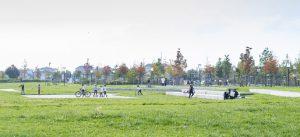 Photographie du parc du Génitoy, dans l'écoquartier Le Sycomore, à Bussy Saint-Georges