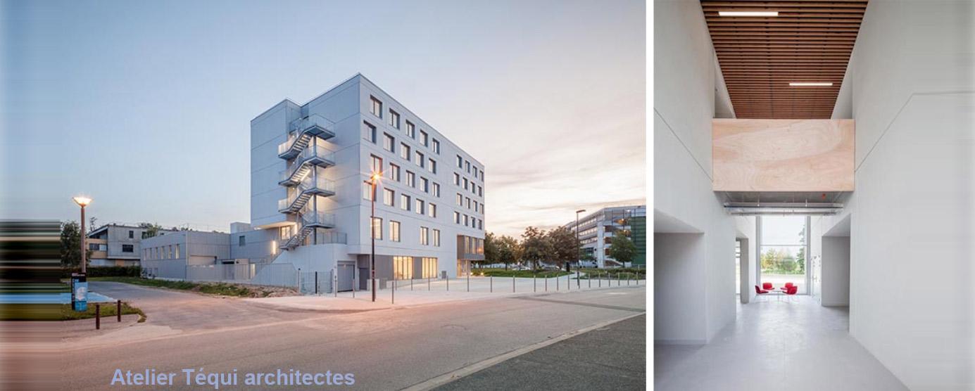 Image 1 : La Maison des Compagnons du Devoir, à la Cité Descartes ; Image 2 : Couloirs du bâtiment Tour de France, à la Cité Descartes