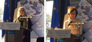 Image 1 : Allocution de Maud TALLET, maire de Champs-sur-Marne - Image 2 : Allocution d'Anne-Sophie GRAVE, directrice générale du Groupe Immobilière 3F