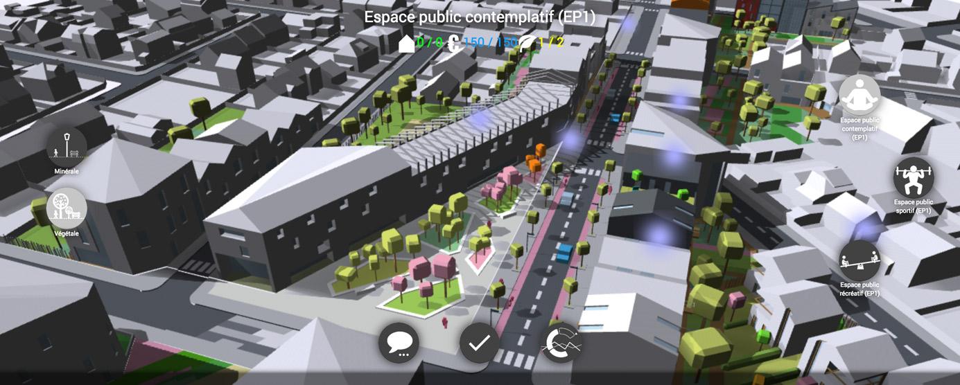 Le BIM Citoyen reprend les données de la maquette numérique développée à l'échelle du quartier. Une interface supplémentaire a été créée pour permettre aux habitants d'intervenir sur le projet urbain sous forme de jeu.