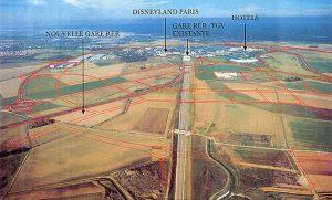 Vue aérienne du centre urbain du Val d'Europe